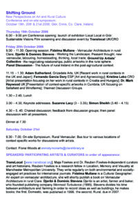Shifting Ground Conference Programme