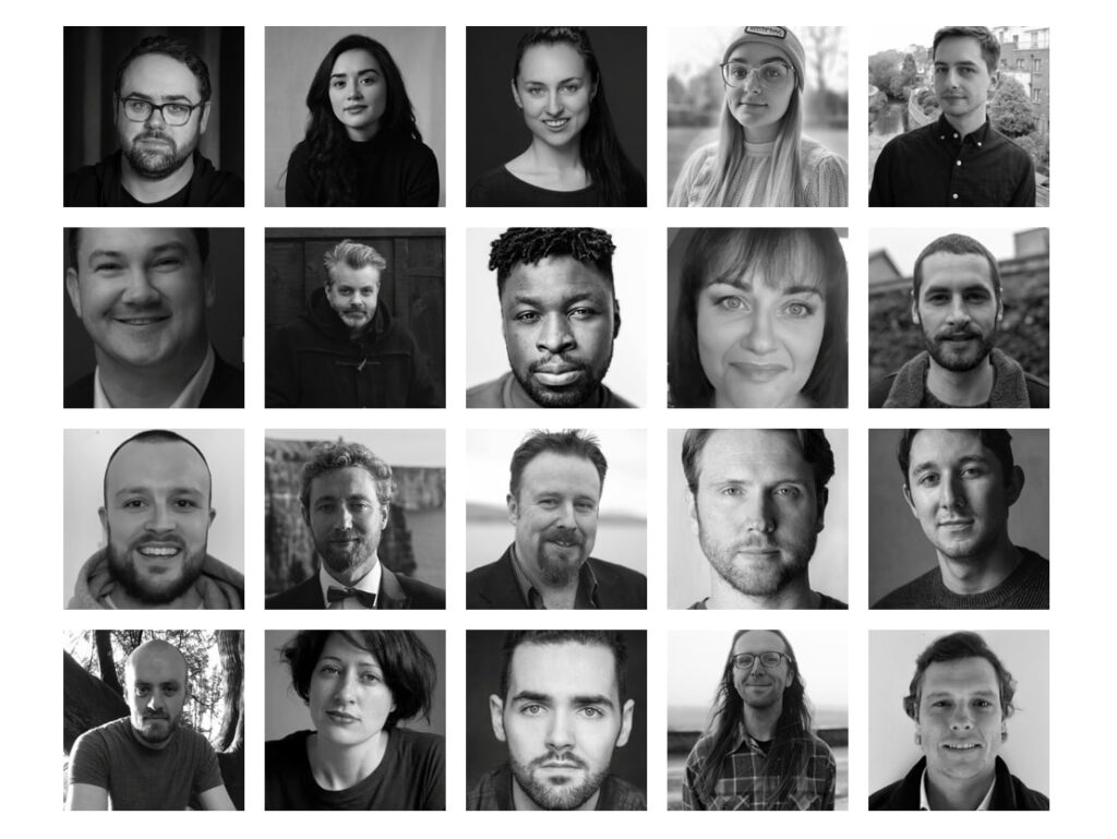 A black and white collage of all shortlisted film makers